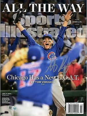 Anthony Rizzo Cubs 2016 MLB WS Champs Autographed Championship SI Magazine