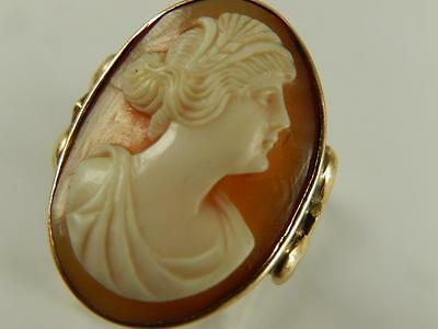 10k Gold CAMEO Lady RING Carved Shell Vintage Sz 4 3/4 Large Cameo Petite Band