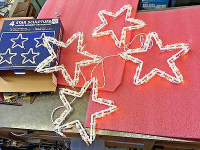 BS1 Vintage Window 4 Star Stars Sculpture Christmas lights with suction cups