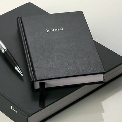 "Basic Black Lined Journal Hardcover Stories Poems Notes Diary Writer 7"" x 10"""