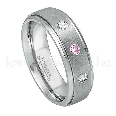 0.21ctw Pink Tourmaline 3-Stone Ring 8mm Polished Comfort Fit Dome Tungsten Wedding Band October Birthstone Ring