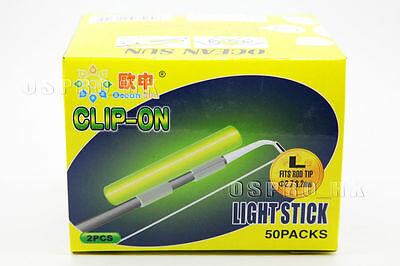 New 100 X Chemical Light Fishing Fluorescent Glow Stick Clip Rod Tip L Size