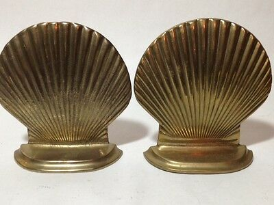 Pair of VINTAGE HEAVY LEONARD CLAM SEA SHELL BOOK ENDS BOOKENDS NAUTICAL