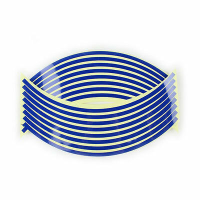 Reflective Motorcycle/car Rim Stripes Wheel Decal Tape Sticker 16 Strips - Blue
