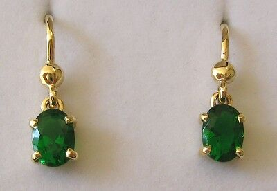 7x5 GENUINE 9K 9ct SOLID GOLD MAY BIRTHSTONE EMERALD EARRINGS