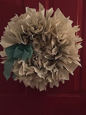 Book Wreath Made From A Book Handcrafted  Wreath Crafts Home Decor