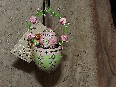 Patricia Breen Jeweled Pink Rose Egg Sculpture And Matching Rose Easter Basket