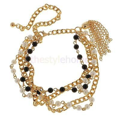 Gorgeous Boot Bling Jewelry Bracelet Multi Chains with White Black Beads