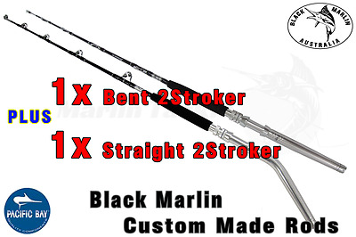2x BMA SHORT STROKER 24kg Stand-up GAME FISHING RODS 1x Bent Butt & 1x Str Butt