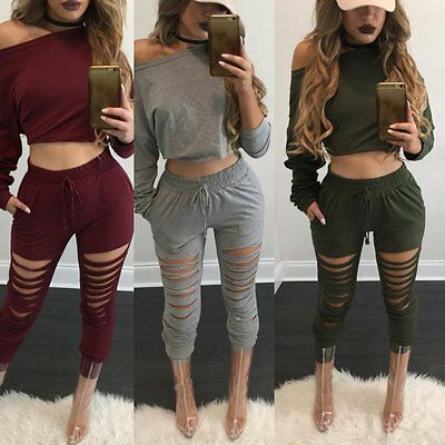 Fashion Women Sports Wear Tops Pants Tracksuit Sweatshirt Suit Jogging 2PCS Set