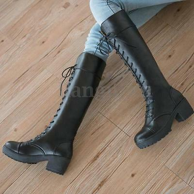 AU Women Over Knee Boots Martin Thigh High Platform Lace Up Shoes Riding Boots