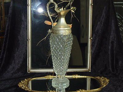A Beautiful Elegant Vintage Glass / Crystal Tall Decanter C 1950's Italy