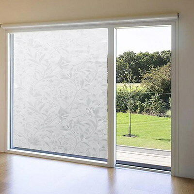 Window Film Stained Glass Paper Frosted Home Decorative 3D Static Cling 45x100cm