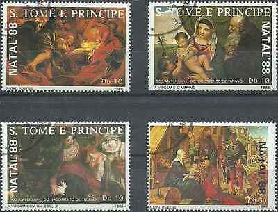 Timbres Religion Noel Arts Tableaux St Thomas et Prince 925/8 o lot 18429