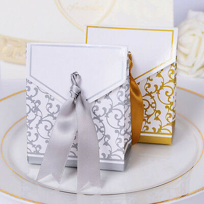 1/100pcs Gold Sweet Cake Gift Candy Boxes Bags Anniversary Party Wedding Favours