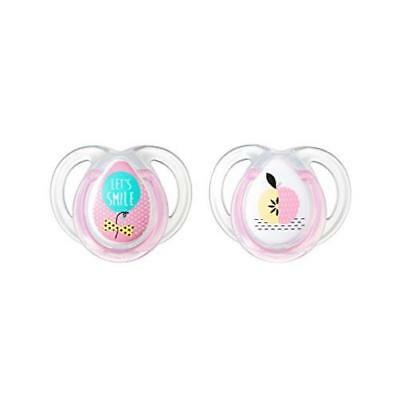 Tommee Tippee Closer To Nature 0-6 Month Everyday Pacifiers 2Pk Girl Baby Everyd