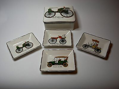 Vintage Porcelain Sandland Box with Four Pin Dishes with Antique Car Decor