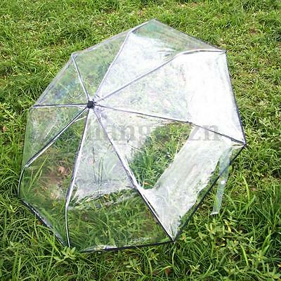 Transparent Automatic Open Folding Clear Rain Umbrella Compact Windproof AU