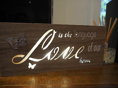 Wooden Plaque Sign Inspirational Night Light Up Hanging Free Standing - LOVE