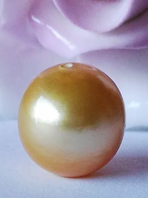 13.20mm!! GENUINE  GOLDEN LOOSE SOUTH SEA PEARL  UNTREATED +  DRILLED