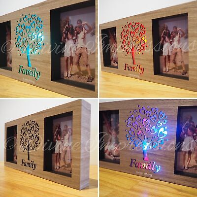Wooden Plaque Sign Inspirational Night Light Up Hanging Free Standing - FAMILY