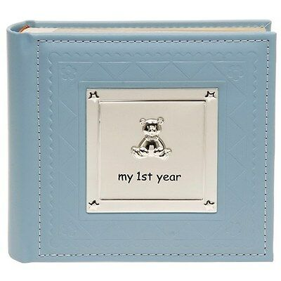 Deluxe Baby Boy My First Year Photo Album Record Book Christening Baby Gift