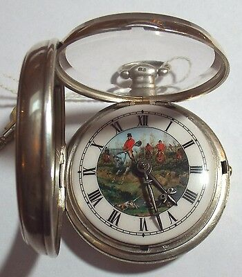 Rare Large Silver  Pictured Dial Of Huntingscene Verge Fusee  P/case Watch