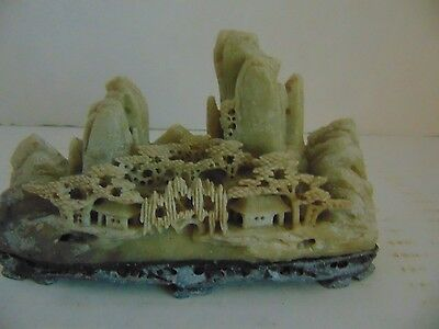 Antique Vintage Hand Carved Chinese Soapstone Mountain Village Statue