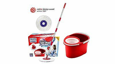 White Magic Microfibre Spin Mop with Hand Press System and 360-Degree Head