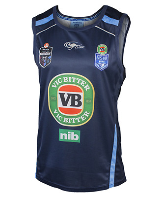 Classic NSW State of Origin 2015 Replica Training Singlet Navy Blue- Extra Large