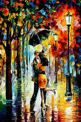 GLOSSY WALL ART POSTER PRINT Lovely Couple Under Umbrella In The Rain Abstract