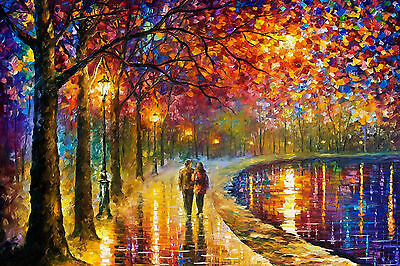 GLOSSY WALL ART POSTER PRINT Couple Walking By The River Abstract Colour