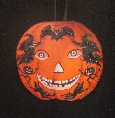Halloween Pumpkin Handcrafted Wooden Ornament Holiday Decorations Beistle Witch