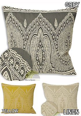 Square Cushion Cover Scatter Case Grey Yellow Beige EMBROIDERED Ethnic Design