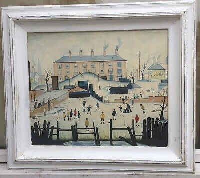 Manner of L.S.LOWRY - MANCHESTER SCHOOL OIL PAINTING ON BOARD - MATCHSTICK MEN