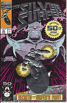 Silver Surfer #50 (Marvel) THANOS INFINITY GAUNTLET VF/NM to NM- (9.0-9.2)