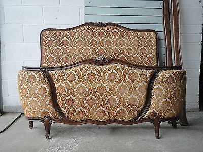 Antique Vintage Upholstered Walnut Carved French Double Bed Demi Corbeille