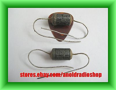 Pair NOS Aerovox .05 uF 400V paper wax guitar tone capacitors, early oil filled