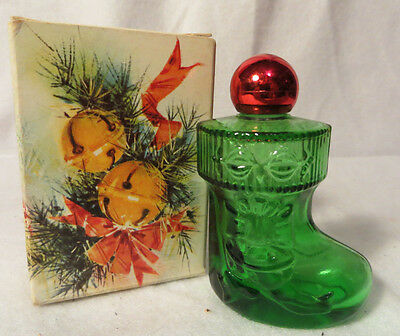 Avon Christmas Surprise Green Glass Stocking Bottle - Empty Bottle with Box