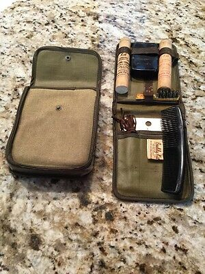 Vintage WW2 US Army Soldier's Bath Kit, Shave Powder, Tooth Powder, Soap And Etc