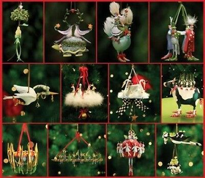 Patience Brewster Krinkles 12 Days of Christmas 12th Piece Ornament Full Set New