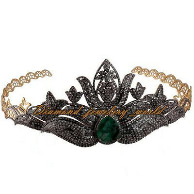 Estate Vintage 15.89ct Rose Cut Diamond Emerald Silver Royal Crown Tiara Jewelry