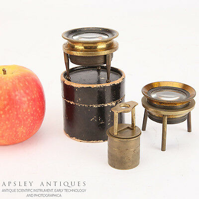 A Collection Of 3 Magnifying lenses Microscopes - Antique Brass