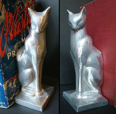Frankart sitting cat bookends art deco moderne unfinished aluminum a pair USA