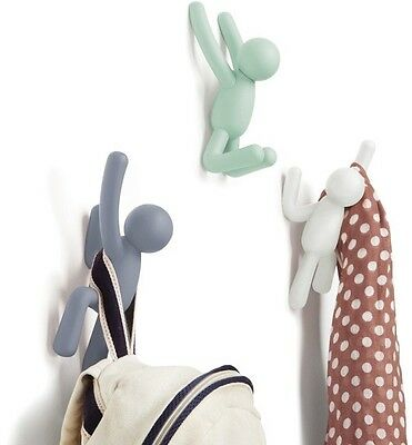 QUIRKY UNUSUAL BUDDY Multi Hooks Kid Hanger 3 Hook Coat Rack Wall Mounted System
