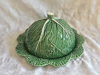 """Bordallo Pinheiro Green Cabbage Leaf Cheese Dome 13"""" Platter Plate"""