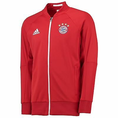 adidas Mens Gents Football Soccer Bayern Munich Anthem Jacket Top - Red