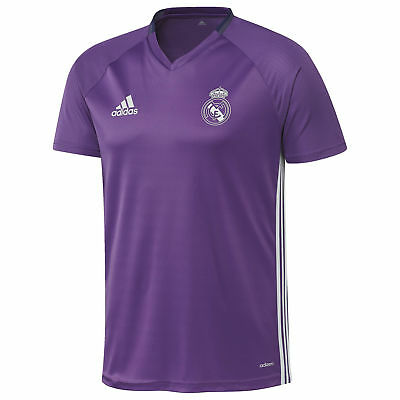 adidas Mens Gents Football Soccer Real Madrid Training Shirt Jersey - Purple