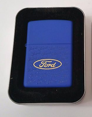 Zippo Lighter Ford Licensed Collage Blue Matte Finish New in tin w/ sleeve 2000