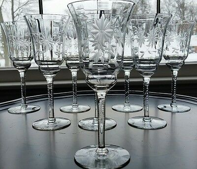 """(8) Antique Optic Water/champagne  Goblets Crystal Etched Floral Cut 8"""""""